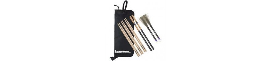 drumsticks, brushes, mallets,