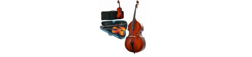 instrumentos de arco para estudiantes violines, contrabajos, violoncel
