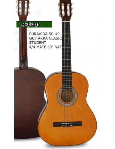 "PURAVIDA SC-40 GUITARRA CLASICA STUDENT 4/4 MATE 39"" NAT"