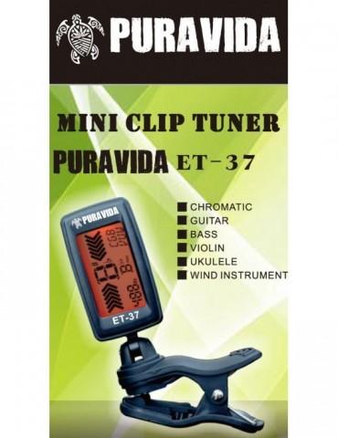 PURAVIDA ET37 TUNER Afinador pinza cromatic GUITAR UKE BASS VIO WIND